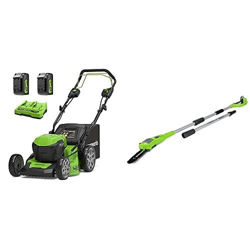 Greenworks Tools GD24X2LM46SPK4x Cortacéspedes rotativos + Podador de Pértiga de Batería G24PS20, Li-Ion 24V 20 cm Longitud Espada 6.7m/s Velocidad de Cadena, 280 cm Barra Aluminio, 3 Piezas