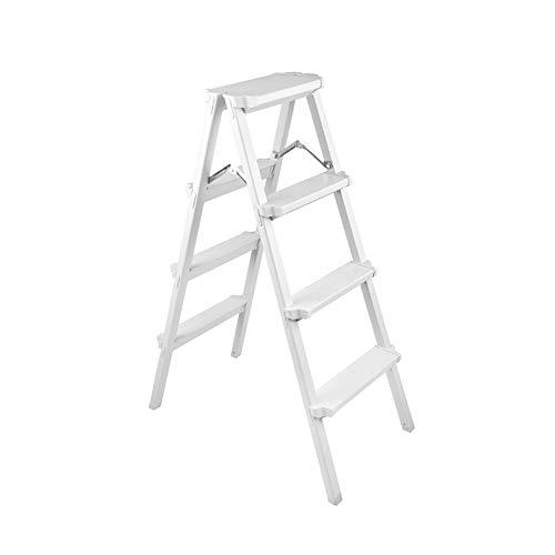 LRZLZY Stufenleiter Folding Haushaltsschiebeleiter Thick Aluminiumlegierung Multifunktionsleiter (Silber weiß) Stabilität und Sicherheit (Size : 4 Step)