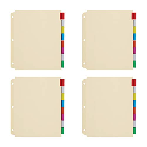 Oxford 3 Ring Binder Dividers, 8 Tab, Insertable Multicolor Big Tabs, 4 Sets (R215-8A3), Assorted