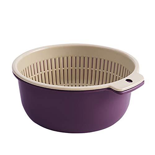 QIUUE 2020 Kitchen Double-Layer Separation Design Fruit and Vegetable Plastic Basket PP Material Wash Drain Basket, Two Sizes (Purple-1)