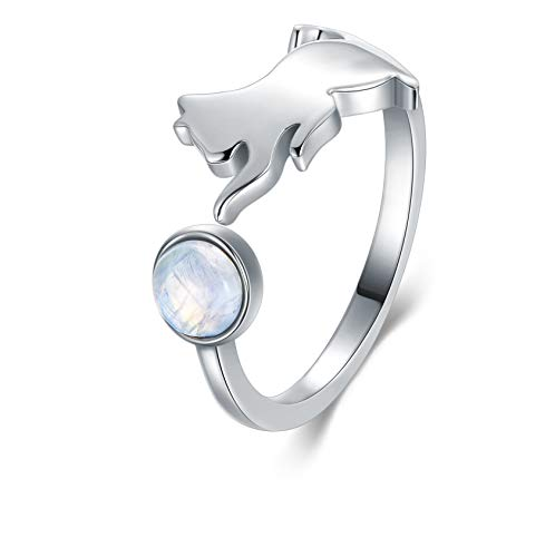 LONAGO 925 Sterling Silver Cat Ring Cute Kitty Moonstone Adjustable Open Ring Jewellery for Women