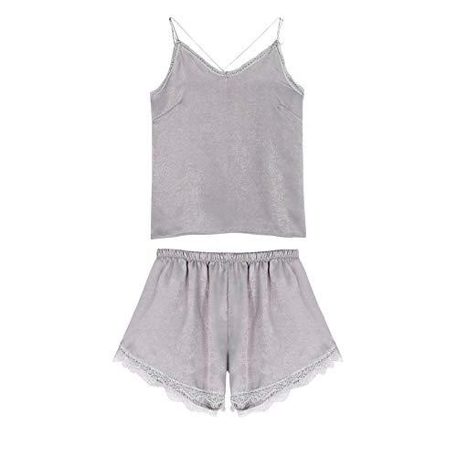 Pijamas - Pantalones cortos de seda para mujer, de verano, para servicio en el hogar, dos piezas