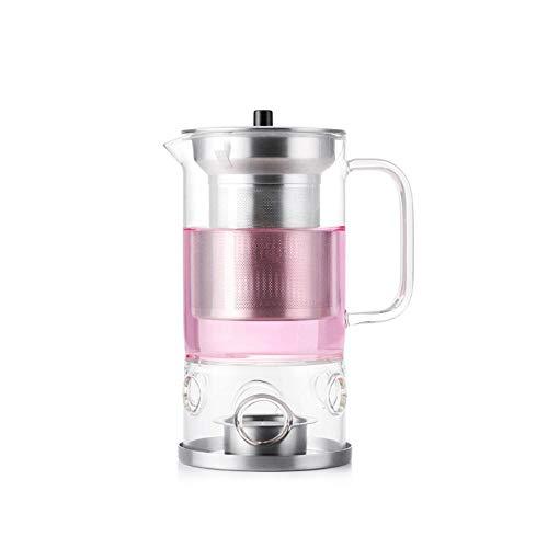BBY - Tetera de cristal con infusor y calentador de velas, 450 ml