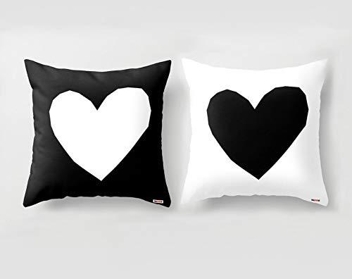 565pir Juego de 2 Fundas de Almohada Decorativas Blanco y Negro con Corazones para sofá de San Valentín