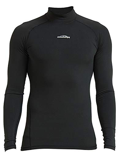 COOLOMG Men's Thermal Fleece Lined Shirts Compression Baselayer Mock Long Sleeved Tops Black M