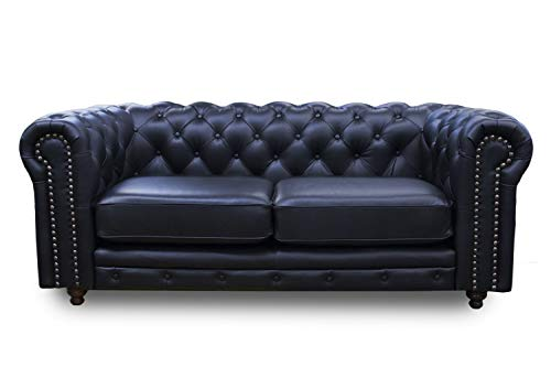 CONFORTOPIEL Love Seat de Piel Genuina 100% Chesterfield (Negro). Estilo Clásico Inglés. Medidas Aproximadas: 210 cm Largo 100 cm Alto 80 cm Profundidad. Elegancia Confort Y Calidad