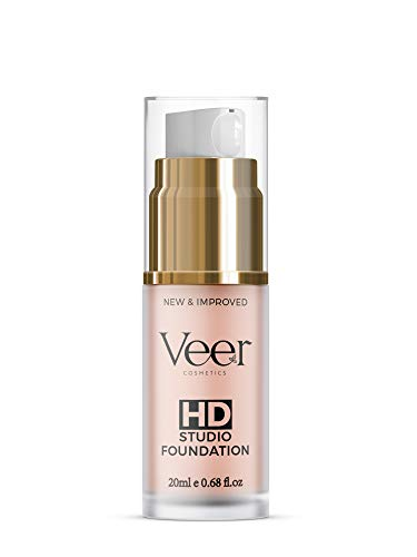 Veer HD Studio Foundation Full Coverage Foundation | Natural Wear Liquid Foundation | Professional Anti-Aging Cosmetics for All Skin Types | Long Lasting Poreless and Scar-free Finish | (Natural)
