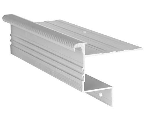 RenoProfil 100 cm Treppenprofil STABIL 14,5 für Parkett und Holz - Treppenkantenprofil für Treppenverkleidung und Treppenrenovierung - Farbe: Silber-Natur