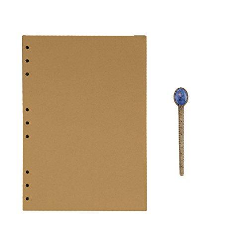 B5 9-Ring Binder Planer Refill Papier für Tagebuch Notizbuch Ringbuch Reisetagebuch Kraftpapier Nachfüllpapier Notizpapier Ersatzblätter Büro Schule Schreiben (100 Blätter)