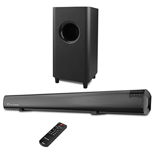 Sound Bar,Wohome 2.1 Channel TV Soundbar with Subwoofers and Bluetooth Surround Home Theater System 34-inch soundbar 5.5-inch Subwoofer 4 Speakers 120W 95dB Remote Control Model S18