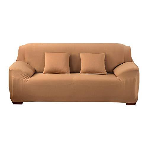 Stretch Kussenovertrekken Jacquard Sofa,Effen kleur stretch bankhoes, 1/2/3/4 zitbank hoekbank light-brown_ single-seater