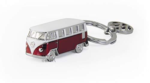 BRISA VW Collection - Volkswagen T1 Bulli Bus 3D Schlüssel-Anhänger, Geschenk-Idee/Fan-Souvenir/Retro-Vintage-Artikel (Rot)