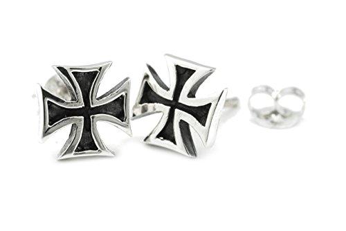 WINDALF Mittelalter Ohrringe RAHON Ø 0.9 cm Templerkreuz mit Stecker Eisernes Kreuz Ohrschmuck Vintage Ritterschmuck 925 Sterlingsilber