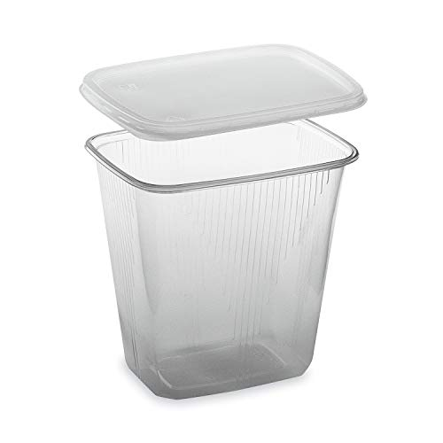 LogiPack GeRo Feinkostbecher mit Deckel 500ml eckig Verpackungsbecher Salatbecher Salatschale Verpack-Becher Polypropylen (PP) (250)
