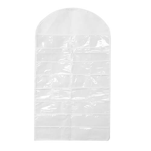 ZHHZ Bolsa de almacenamiento – 32 bolsillos doble cara joyería collares pendientes bolsa de almacenamiento colgante pared armario blanco