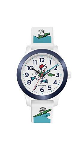 Lacoste Relógio de quartzo infantil Lacoste.12.12 com pulseira de silicone, branco e azul, 14 (modelo: 2030029)