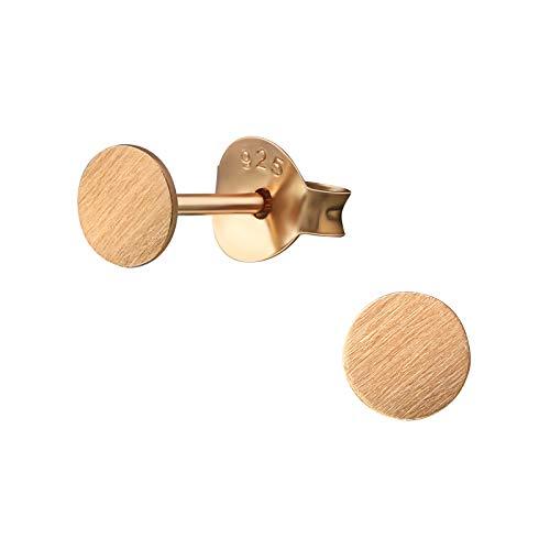Laimons dames oorstekers oorringen damessieraad schijf plaat rond klein graveren sieraad glanzend 4mm roze verguld sterling zilver 925