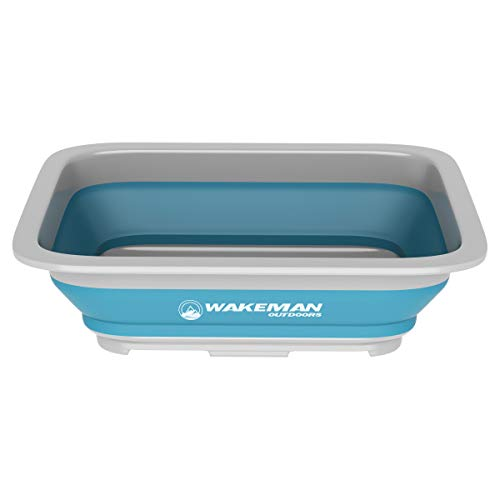 Wakeman Outdoors Collapsible Multiuse Wash Bin- Portable Wash Basin/Dish Tub/Ice Bucket with 10 L Capacity for Camping, Tailgating, More (0.05 Mm Sink)
