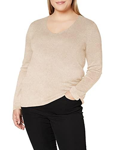 TOM TAILOR Damen Basic V-Neck Pullover, 20737-desert Sand Melange, M