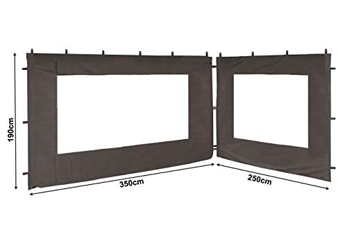 QUICK STAR 2 Side Panels with PE Window 250/350x190cm Gray for Gazebo 3x4m