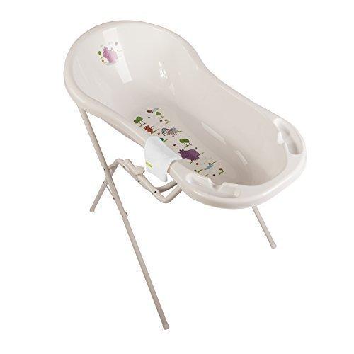 Hippo weiß Baby Badewanne XXL 100 cm + Badewannenständer + Waschhandschuh