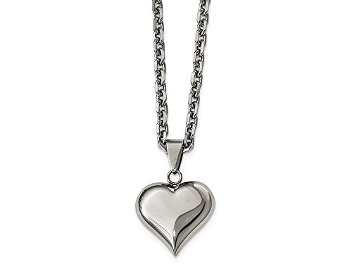 Chisel Stainless Steel Polished Heart Necklace