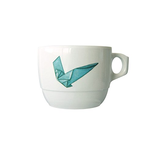 Cartaffini - Taza de té Amici Origami - Colombe de melamina apilable, Ø 8,8 cm / H 6,80 cm, capacidad 300 ml - Color: blanco óptico