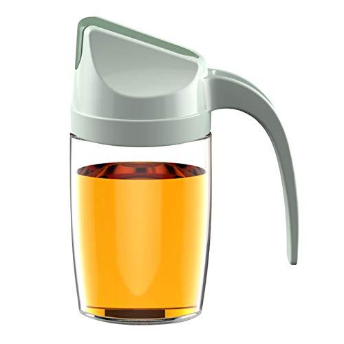 123 Life Botella dispensadora de aceite de vidrio a prueba de fugas de 300 ml con apertura automática y tapón antigoteo y mango antideslizante (verde)