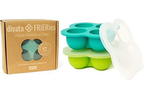 divata Eiswürfelform mit Deckel, 2er Set Frieries – Silikon Gefrierform | EIS und Nahrung Einfrieren, z.b. Babybrei, Gewürze, Muttermilch