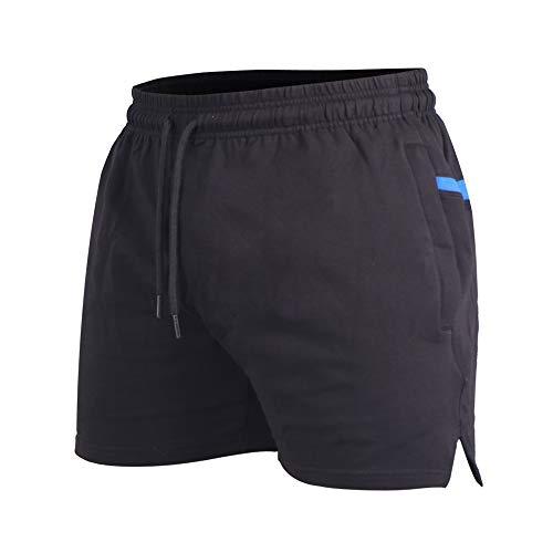 """Homme Shorts de Sport athlétisme Bodybuilding Shorts Poche 5"""" Coton Noir XL"""