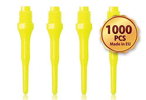 OLYMPOO - 1000 STK.Profi Dartspitzen Kunststoff für elektronische Dartscheibe - 2ba klein Gewinde - Dartpfeile Spitzen aus Plastik (Gelb)