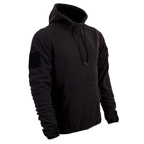 AR TACTICAL Taktischer BW Fleece Pullover mit Hoheitsabzeichen BW Hoodie mit Klett + Rubber Patch (Schwarz, M)
