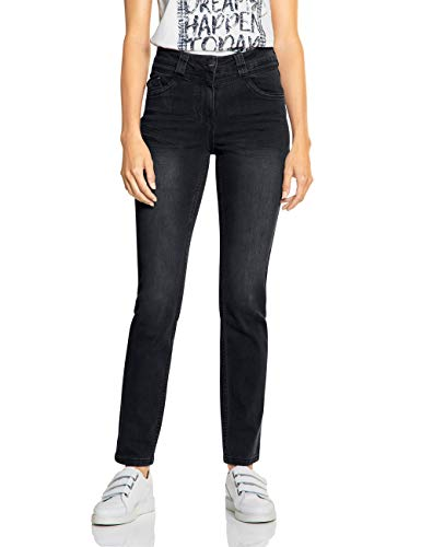 Cecil Damen 372532 Toronto Fit Slim Jeans, Schwarz (Black Denim 10273), W31/L32 (Herstellergröße:31)