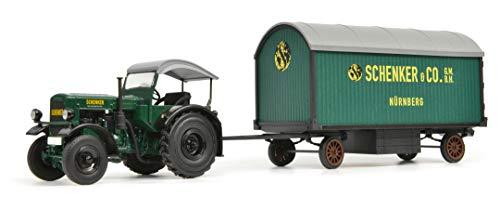 Schuco 450781900 Deutz F3 Schenker, Traktor mit Anhänger, Seitenwände aus Holz, Modellfahrzeug, 1:32, Limitierte Auflag, grün