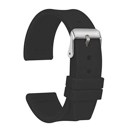 Ullchro Correa Reloj Calidad Alta Recambios Correa Relojes Caucho Suave Flexible Hombre Mujer - 16, 18, 20, 22, 24, 26, 28mm Silicona Correa Reloj con Hebilla de Acero Inoxidable (28mm, Negro)