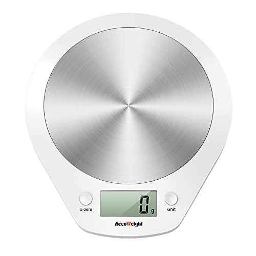 ACCUWEIGHT Bilancia Digitale da Cucina Bilance Alimenti Elettronica con Piattaforma in Acciaio Inossidabile per Pesa Cibo, Alta Precisione da 1g a 5 kg, Bianco