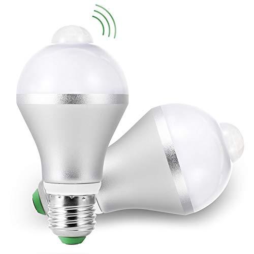 Sensor Birne 5W LED Leuchtmittel E27 Lampe mit PIR Bewegungsmelder, Kaltweiß 6500K, 450 Lumen Automatische On/Off Energiesparlampe Glühbirne, für Treppen Haustür Garten Garage, 2 Pack
