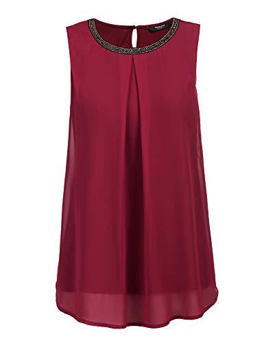 FINEJO Damen Ärmellose Chiffon Bluse, Frauen Sommer Elegant Weste Top Hemdbluse Unregelmäßigkeit Casual Unterhemd Shirts