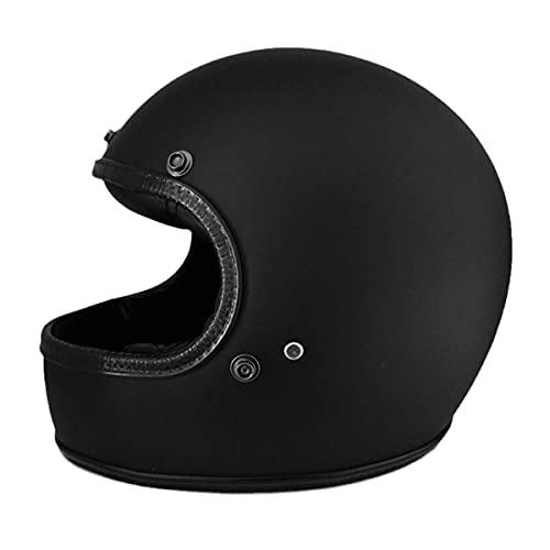 Casco de motocicleta de cara completa de fibra de vidrio casco de motocicleta vintage casco todoterreno 0700C-mate negro L