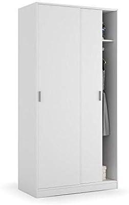 Habitdesign MAX019O - Armario Dos Puertas correderas, Color Blanco Mate, Medidas: 100x200x50 cm de Fondo