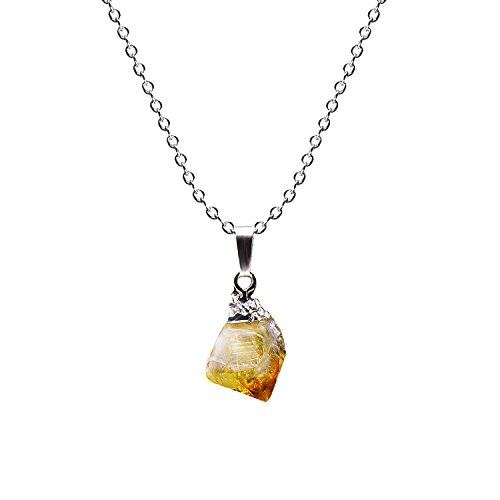 Paialco Natural Rough Rock Raw amarillo Citrino Colgante Collar 45,7 cm - Plata Tiny