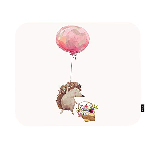 EKOBLA Adorable Animals Hedgehog Mouse Pad with Flying Balloons Charming Spring Floral Cute Gaming Mouse Mat Non-Slip Rubber Base Thick Mousepad for Laptop Computer PC 9.5x7.9 Inch