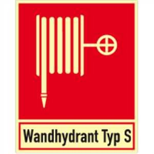 Gecombineerde blusserslang met tekst: Wandhydrant type S HIGHLIGHT folie 25 x 20 cm Helderheid: HIGHLIGHT 48 mcd/m2