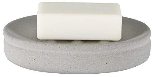 Spirella Seifenschale Steinoptik dekorative Badausstattung Seifenablage Cement Maße: 14 x 10 x 3 cm - Grau