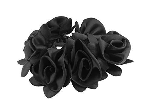 Satin-Rosette für Mädchen und Damen, Brautschmuck, Brautjungfer, Blumen-Haargummi