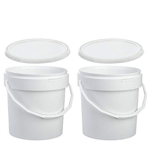 Oipps Pack de 2 cubos de plástico blanco de 12,5 litros con asa y tapa de grado alimenticio para construcción, cocina, jardín