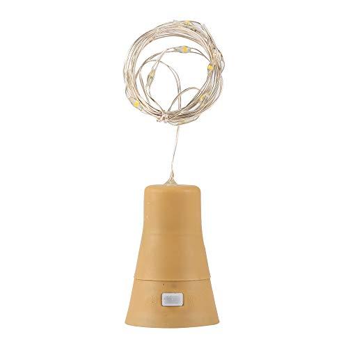 Onever 10 luzes de LED, fio de cobre em forma de rolha, garrafa de vinho, luz de fada para decoração de casa, festa de Natal, alimentada por energia solar (branco quente)