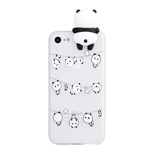 Caso di Panda del Fumetto della Bambola 3D per iPhone 11 12 PRO Mini XS Max XR x 7 8 Plus 6 6S SE Cover Silicone Morbido Antiurto,Chiaro,per iPhone 5 o 5s