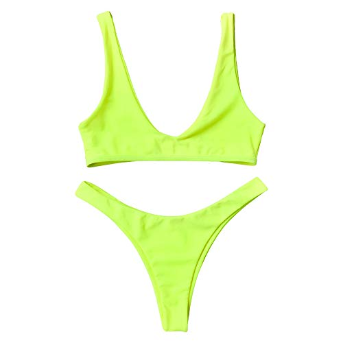 ZAFUL Damen Push-up Solide Biniki Set High Cut Badeanzug Neon Gelb L