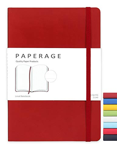 Paperage Journal Lined Notebook, Soft-touch Faux Leather Cover, Medium 5.6 x 7.9 Inches, 100 gsm Thick Paper (Burgundy, Lined)